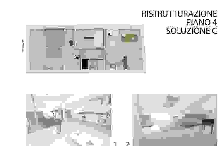 Soluzione 'C' per la ristrutturazione del appartamento al quarto piano di studiolineacurvarchitetti
