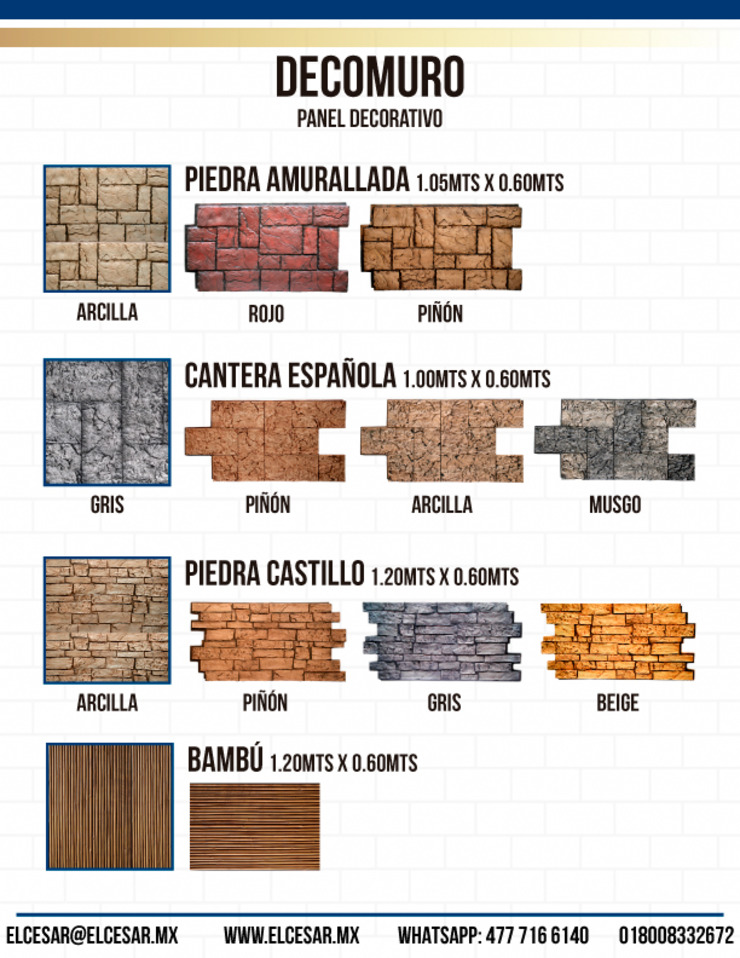 Panel Decorativo Imitación Piedra de EL CÉSAR DISEÑO EN ACABADOS Y DECORACIÓN Moderno Piedra