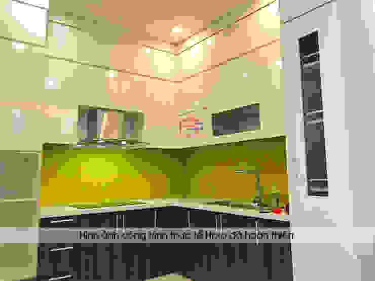 Ảnh thực tế mẫu nhà bếp gỗ laminate An Cường nhà anh Điệp Nội thất Hpro KitchenCabinets & shelves Gỗ Multicolored