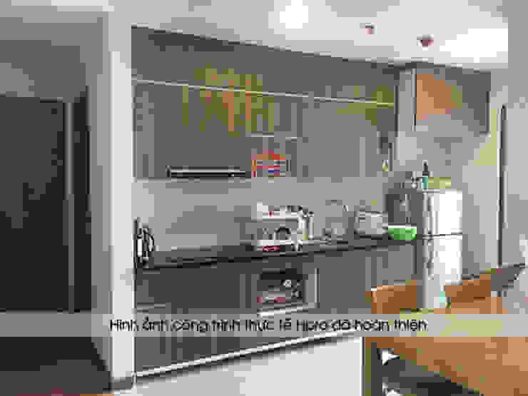 Hình ảnh thực tế nhà bếp đẹp rẻ gỗ laminate vân gỗ sang trọng nhà cô Mai – Cầu Giấy Nội thất Hpro KitchenCabinets & shelves Gỗ Multicolored