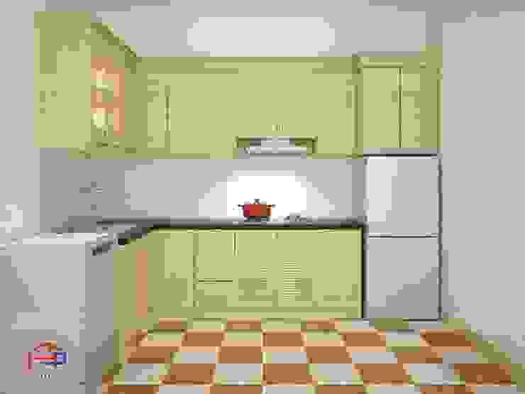 Ảnh thiết kế 3D bộ tủ bếp nhà anh Lý - Đông Ngạc Nội thất Hpro KitchenCabinets & shelves Gỗ Multicolored