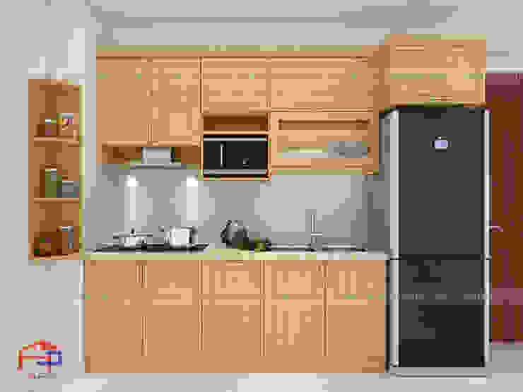 Mẫu nhà bếp chữ i nhỏ đẹp nhà anh Hoa - Hạ Long Nội thất Hpro KitchenCabinets & shelves Gỗ Multicolored