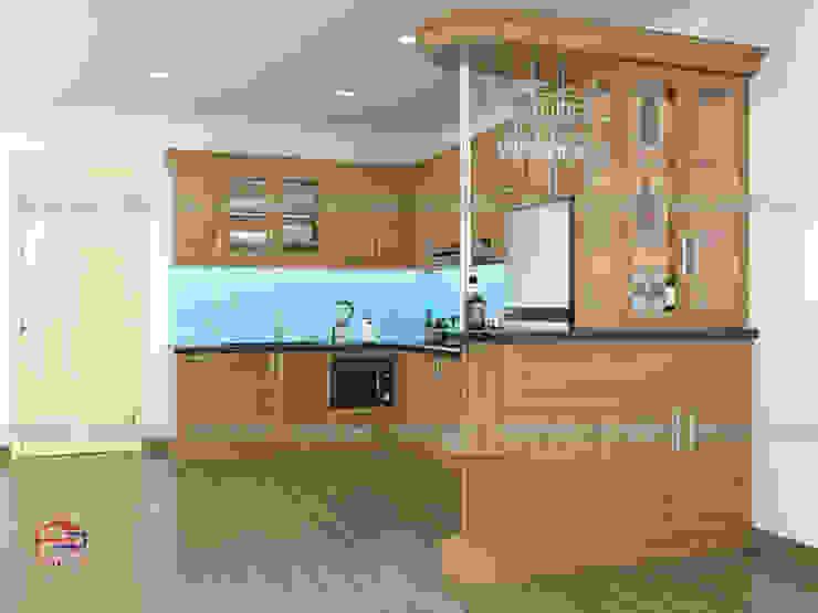 Mẫu thiết kế nhà bếp đẹp chữ U Nội thất Hpro KitchenCabinets & shelves Gỗ Multicolored