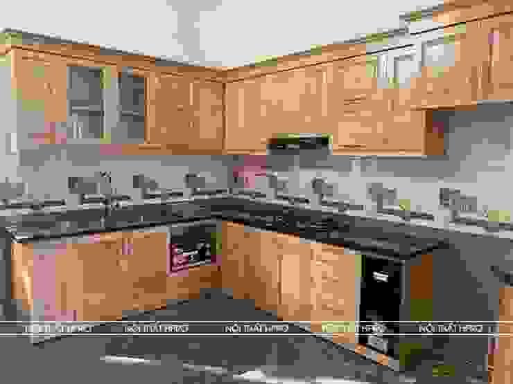 Nhà bếp đẹp rẻ gỗ sồi nga có quầy bar mini cực tiện dụng Nội thất Hpro KitchenCabinets & shelves Gỗ Multicolored