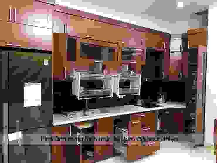 Hình ảnh thực tế bộ tủ bếp nhà anh Phương - Đức Giang Nội thất Hpro KitchenCabinets & shelves Gỗ Multicolored