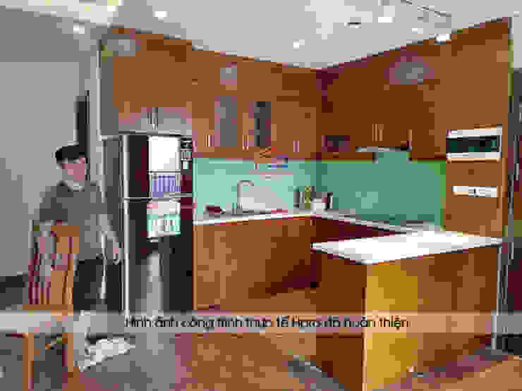 Hình ảnh thực tế bộ tủ bếp chữ u nhà anh Đại Nội thất Hpro KitchenCabinets & shelves Gỗ Multicolored