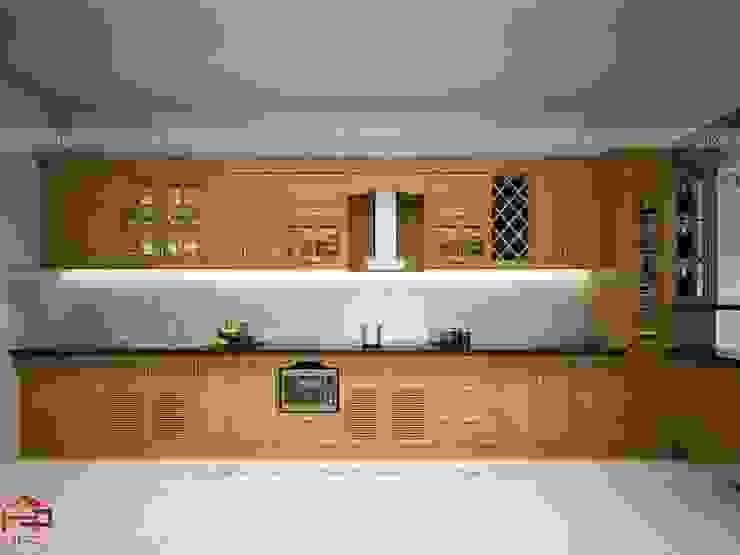 Ảnh thiết kế 3D bộ tủ bếp nhà anh Văn - Kiến An, Hải Phòng Nội thất Hpro KitchenCabinets & shelves Gỗ Multicolored