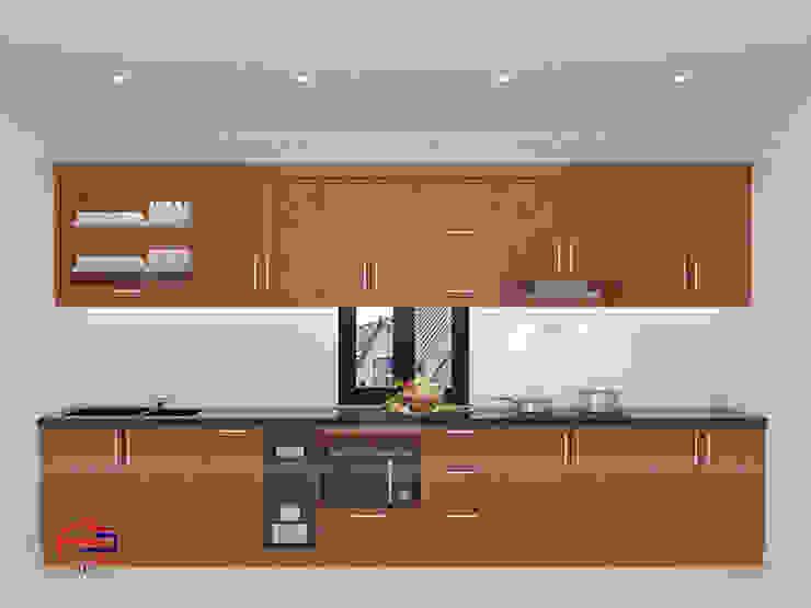 Mẫu nhà bếp đẹp chữ i Nội thất Hpro KitchenCabinets & shelves Gỗ Multicolored