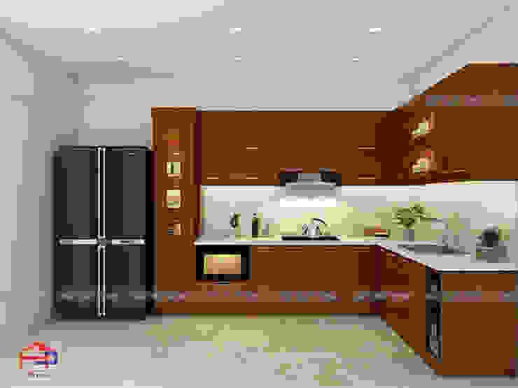 Ảnh thiết kế 3D tủ bếp chữ L gỗ xoan đào Nội thất Hpro KitchenCabinets & shelves Gỗ Multicolored