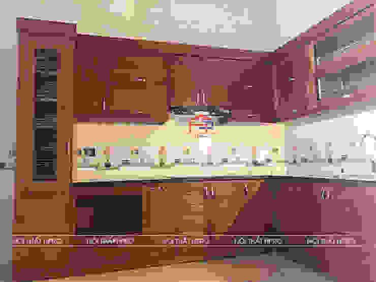 Hình ảnh thực tế bộ tủ bếp gỗ xoan đào nhà anh Tuân Nội thất Hpro KitchenCabinets & shelves Gỗ Multicolored