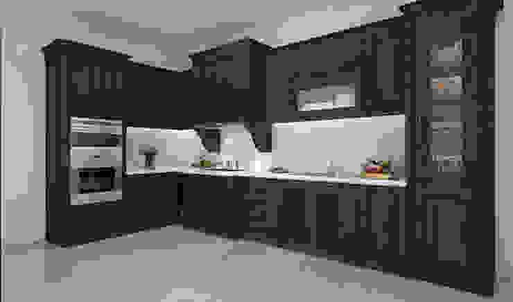 Thiết kế 3D tủ bếp gỗ óc cho nhà chị Thúy Nội thất Hpro KitchenCabinets & shelves Gỗ Multicolored