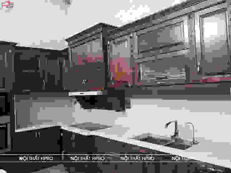 Hình ảnh thực tế bộ tủ bếp gỗ óc chó nhà chị Thúy Nội thất Hpro KitchenCabinets & shelves Gỗ Multicolored
