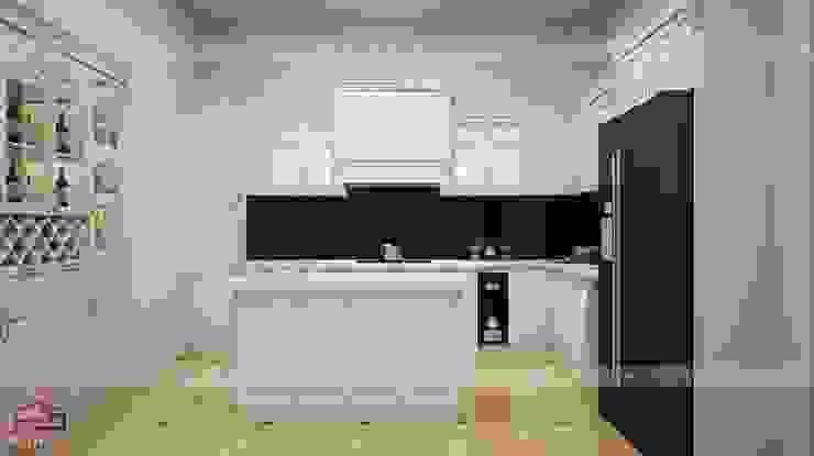 Ảnh thiết kế 3D tủ bếp tân cổ điển nhà anh Hoàn Nội thất Hpro KitchenCabinets & shelves Gỗ Multicolored