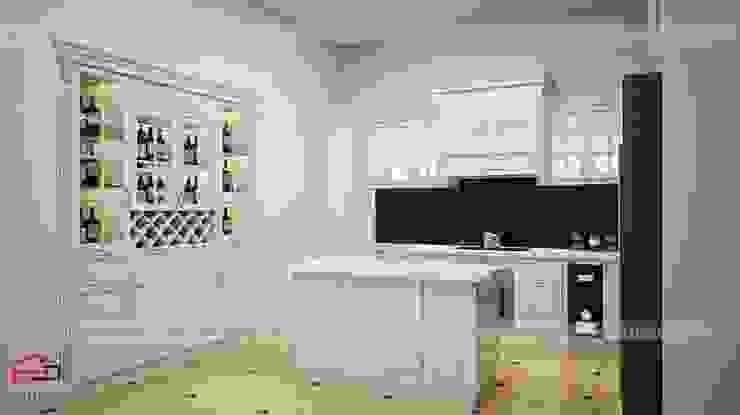 Ảnh thiết kế 3D bộ tủ bếp nhà anh Hoàng - view2 Nội thất Hpro KitchenCabinets & shelves Gỗ Multicolored