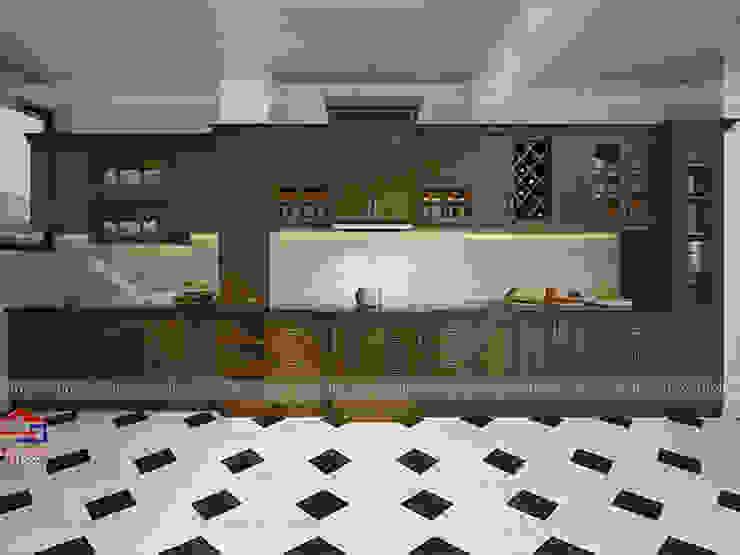 Mẫu nhà bếp gỗ sồi mỹ tân cổ điển Nội thất Hpro KitchenCabinets & shelves Gỗ Multicolored