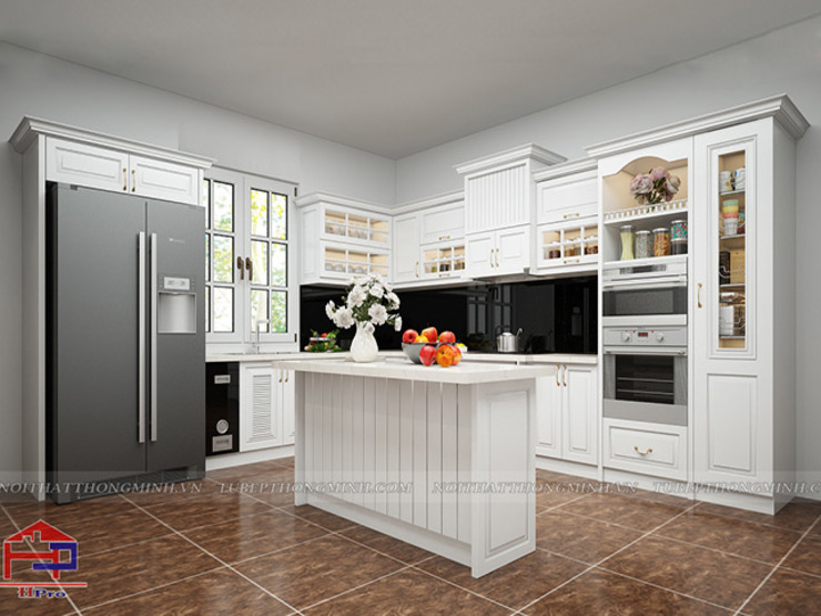Mẫu nhà bếp đẹp tân cổ điển màu trắng chữ L kết hợp bàn đảo Nội thất Hpro KitchenCabinets & shelves Gỗ Multicolored