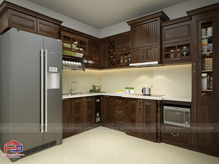 Ảnh thiết kế 3D bộ tủ bếp gỗ óc chó Nội thất Hpro KitchenCabinets & shelves Gỗ Multicolored