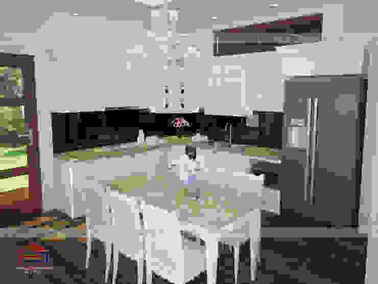 Mẫu nhà bếp đẹp chữ L có bàn ăn Nội thất Hpro KitchenCabinets & shelves Gỗ Multicolored