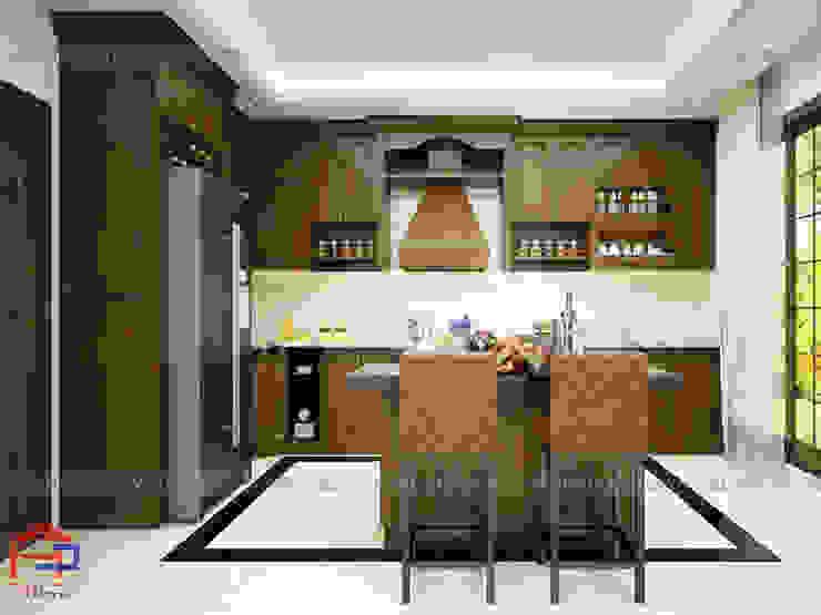 Chất liệu gỗ sồi mỹ tự nhiên màu sắc nâu trầm ấm để thiết kế nhà bếp đẹp sang trọng Nội thất Hpro KitchenCabinets & shelves Gỗ Multicolored