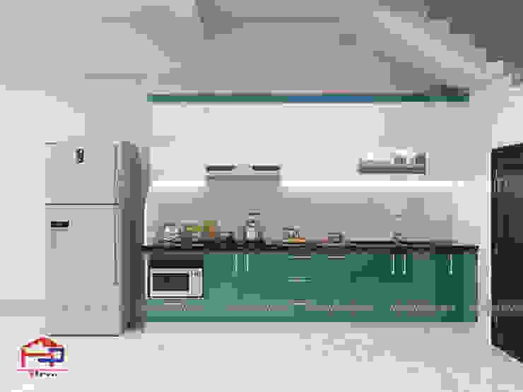 Mẫu thiết kế tủ bếp acrylic chữ I sang trọng nhà anh Tùng – Thanh Oai Nội thất Hpro KitchenCabinets & shelves Gỗ Multicolored