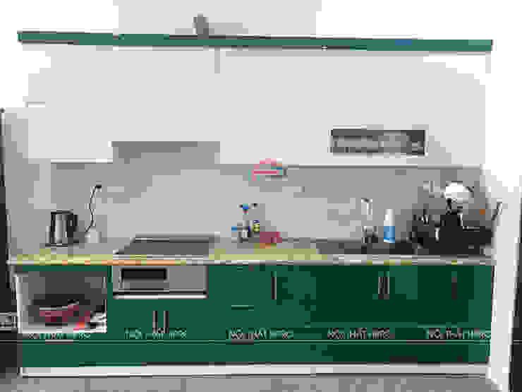 Hình ảnh thực tế bộ tủ bếp acrylic nhà anh Tùng Nội thất Hpro KitchenCabinets & shelves Gỗ Multicolored