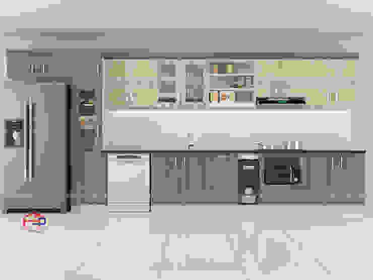 Ảnh thiết kế 3D bộ tủ bếp laminate nhà anh Tuấn Nội thất Hpro KitchenCabinets & shelves Gỗ Multicolored