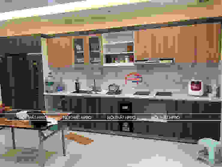 Ảnh thực tế tủ bếp nhà anh Tuấn Nội thất Hpro KitchenCabinets & shelves Gỗ Multicolored