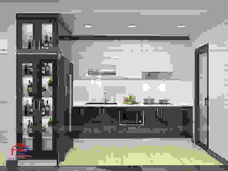 Ảnh thiết kế 3D tủ bếp nhà chị Thắng Nội thất Hpro KitchenCabinets & shelves Gỗ Multicolored