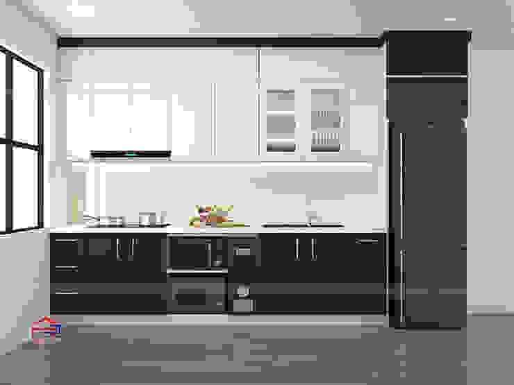 Ảnh thiết kế 3D bộ tủ bếp acrylic nhà chú Cường Nội thất Hpro KitchenCabinets & shelves Gỗ Multicolored