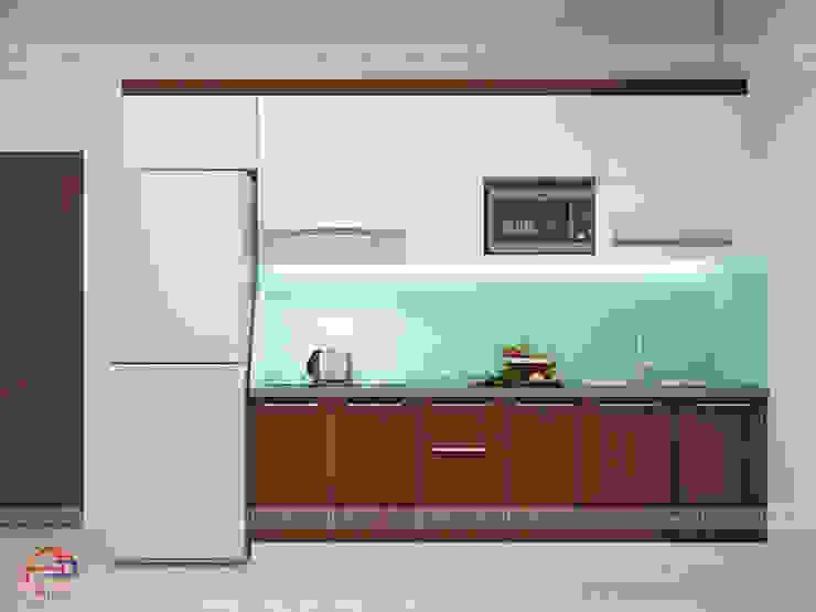 Mẫu tủ bếp gỗ laminate chữ I đơn giản, tiện ích nhà chị Lâm Anh – Xuân La Nội thất Hpro KitchenCabinets & shelves Gỗ Multicolored