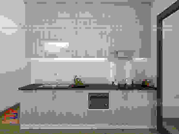 Ảnh thiết kế 3D tủ bếp nhà chị Huyền - Nguyễn Tuân Nội thất Hpro KitchenCabinets & shelves Gỗ Multicolored