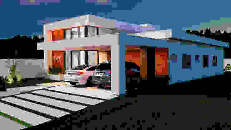 Fachada Lateral Direita Casas modernas por Marcelle de Castro - arquitetura interiores Moderno