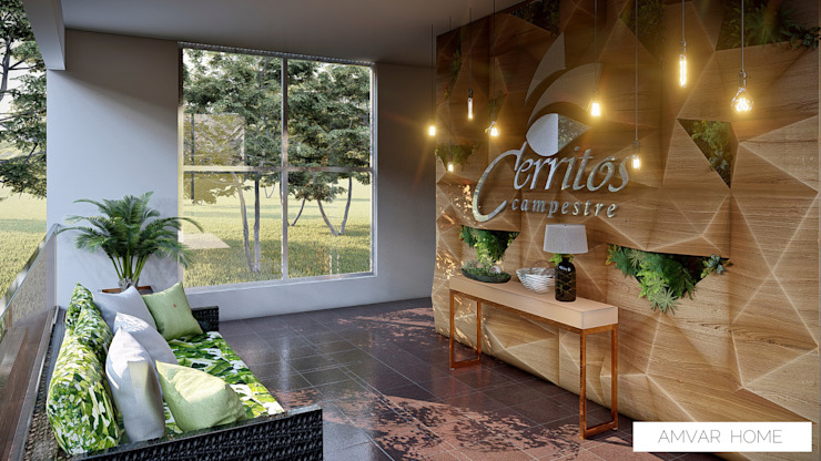 Sala de recepción Cerritos campestre Tropical style corridor, hallway & stairs by Amvar Home Tropical
