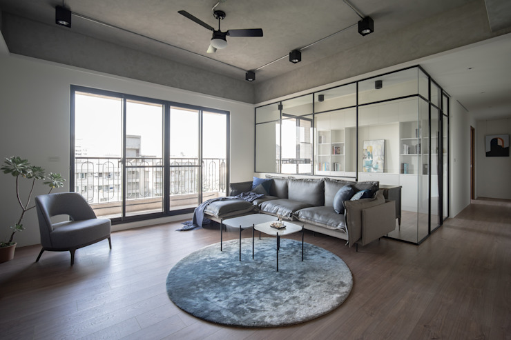 Dr. Wang案 | 客廳 有隅空間規劃所 Living room Concrete Grey