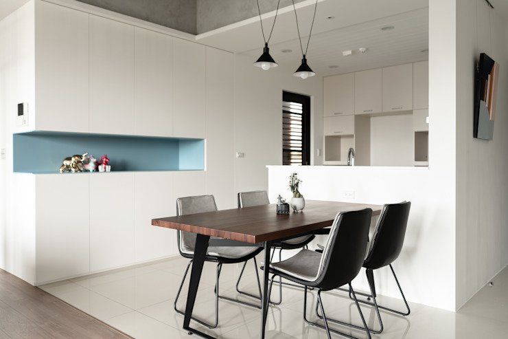 Dr. Wang案 | 餐廳 有隅空間規劃所 Industrial style dining room Plywood White