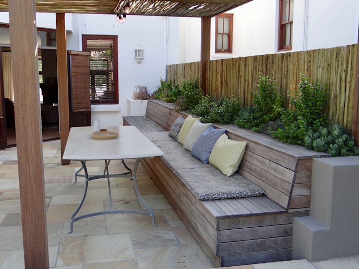After - Completed bench and pergola by Turquoise