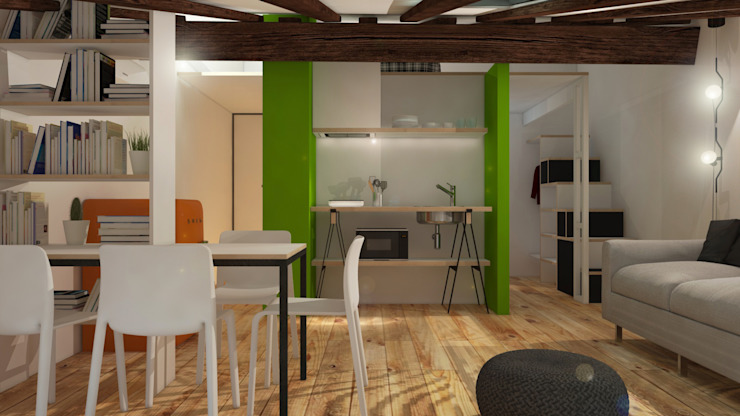 Sottotetto in montagna ibedi laboratorio di architettura Cucina moderna Ferro / Acciaio Verde