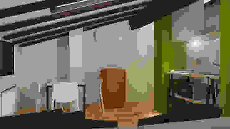 Sottotetto in montagna Sala da pranzo moderna di ibedi laboratorio di architettura Moderno Ferro / Acciaio