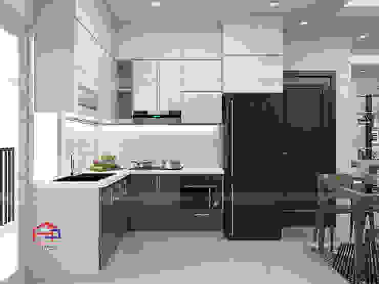 Mẫu nhà bếp đẹp chữ L Nội thất Hpro KitchenCabinets & shelves Gỗ Multicolored