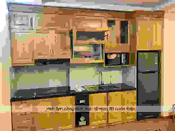 Hình ảnh thực tế tủ bếp gỗ sồi nga nhà chị Hằng - Bắc Ninh Nội thất Hpro KitchenCabinets & shelves Gỗ Multicolored