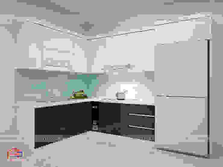 Ảnh thiết kế 3D tủ bếp acrylic nhà chị Hương - Long Biên Nội thất Hpro KitchenCabinets & shelves Gỗ Multicolored