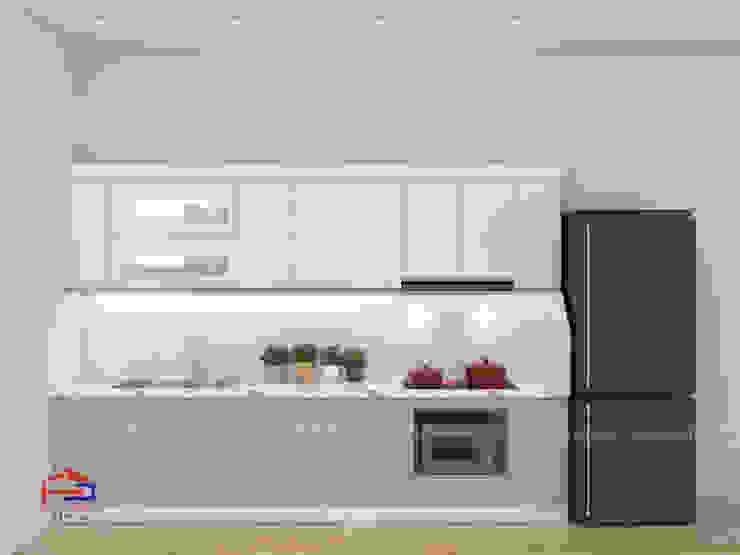 Mẫu thiết kế nhà bếp đẹp nhỏ chữ i Nội thất Hpro KitchenCabinets & shelves Gỗ Multicolored