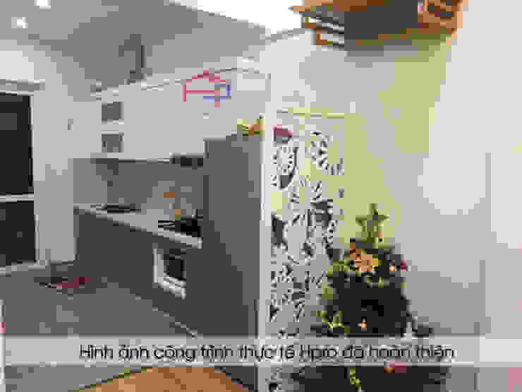 Ảnh thực tế bộ tủ bếp laminate nhà anh Dần Nội thất Hpro KitchenCabinets & shelves Gỗ Multicolored