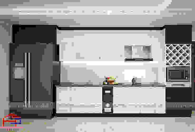Thiết kế 3D tủ bếp nhà chị Hằng - tp. Vinh Nội thất Hpro KitchenCabinets & shelves Gỗ Multicolored