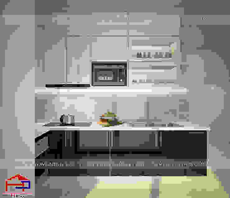 Ảnh thiết kế 3D tủ bếp acrylic bóng gương nhà anh Nam - Đại Mỗ Nội thất Hpro KitchenCabinets & shelves Gỗ Multicolored