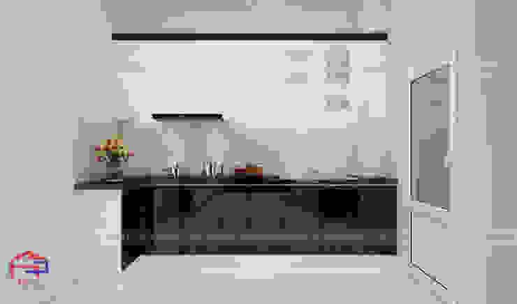 Ảnh thiết kế 3D tủ bếp chữ L nhà chị Vân - Hoài Đức Nội thất Hpro KitchenCabinets & shelves Gỗ Multicolored