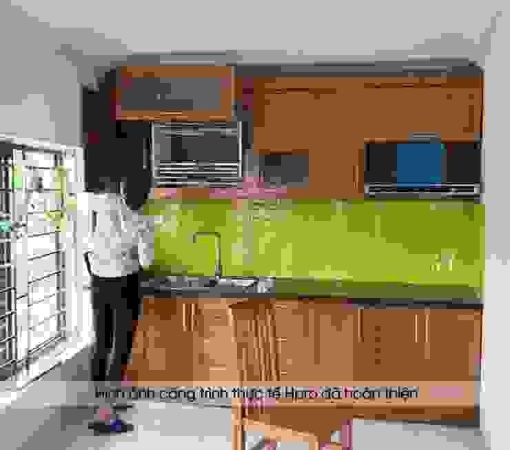 Ảnh thực tế tủ bếp gỗ sồi mỹ nhà chị Luân - Bắc Ninh Nội thất Hpro KitchenCabinets & shelves Gỗ Multicolored