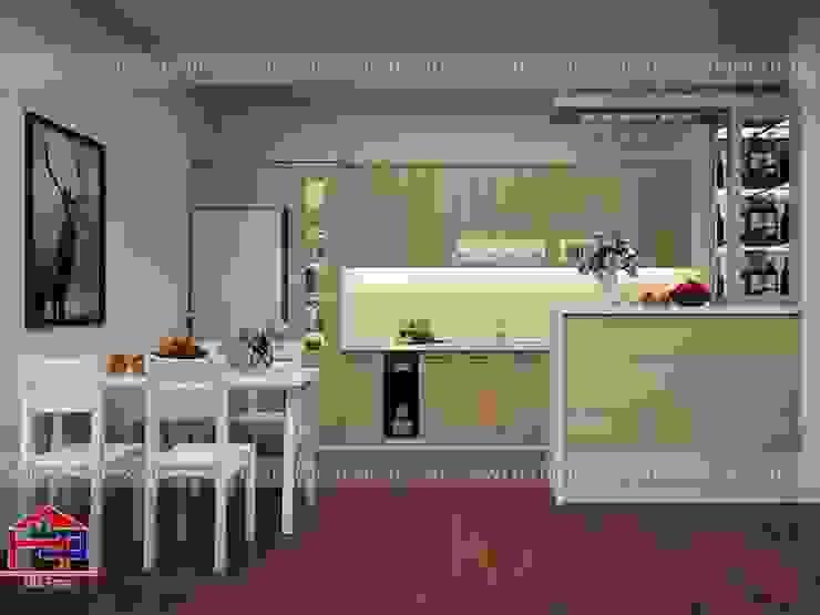 Mẫu nhà bếp đẹp chữ i có quầy bar mini Nội thất Hpro KitchenCabinets & shelves Gỗ Multicolored