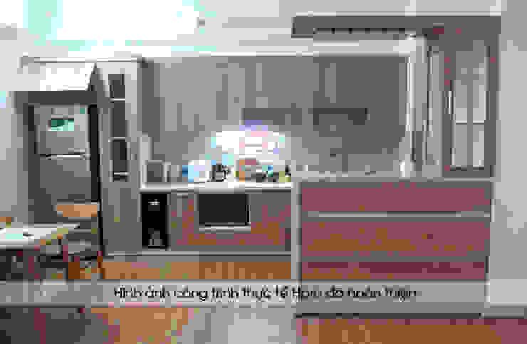 Ảnh thực tế bộ tủ bếp nhà anh Lộc - Cầu Giấy Nội thất Hpro KitchenCabinets & shelves Gỗ Multicolored