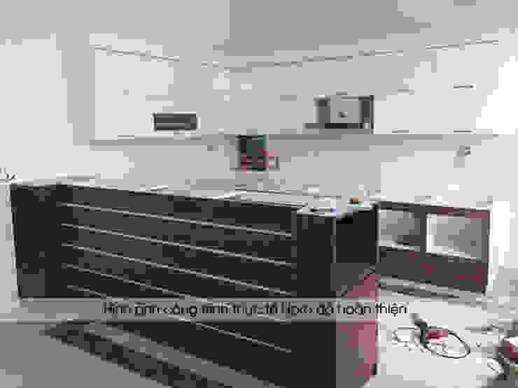 Hình ảnh thực tế bộ tủ bếp gỗ laminate nhà anh Mạnh - Bắc Giang Nội thất Hpro KitchenCabinets & shelves Gỗ Multicolored